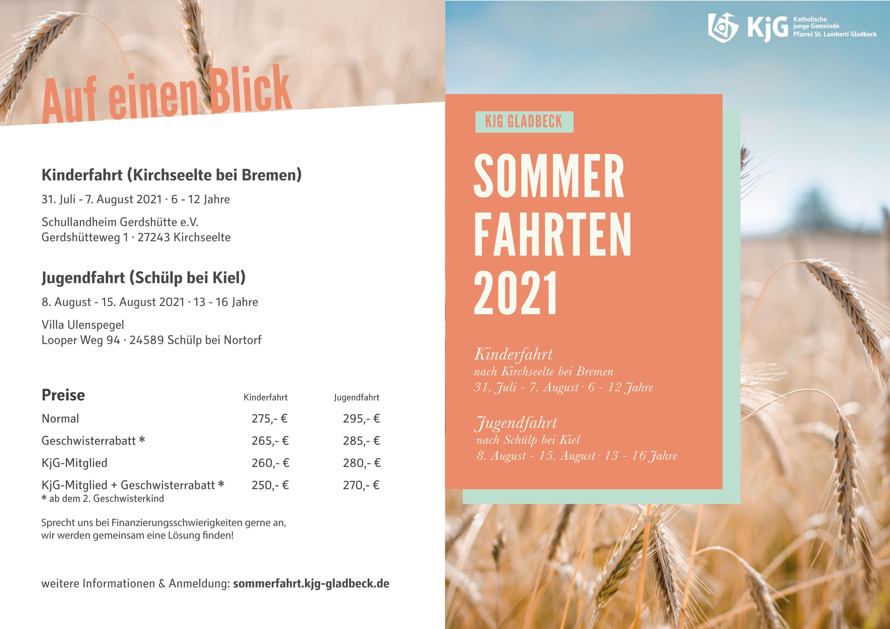 Flyer zur Sommerfahrt 2021 - KjG Gladbeck